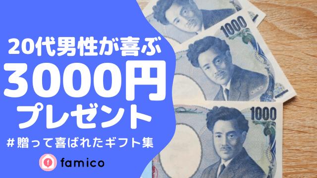 20代,男性,プレゼント,3000円